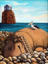 Hippo &amp; Pelican fantasy oil painting